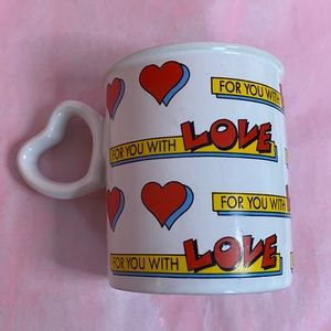 ❤️ VINTAGE 1980s 1990s For you with LOVE Heart Mug